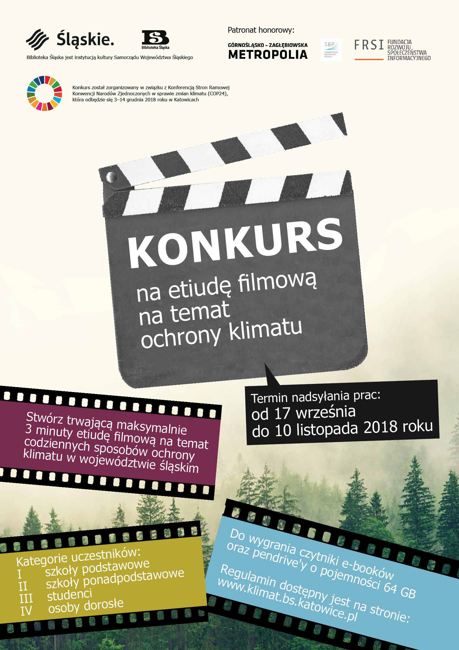 KONKURS NA ETIUDĘ FILMOWĄ NA TEMAT OCHRONY KLIMATU - plakat