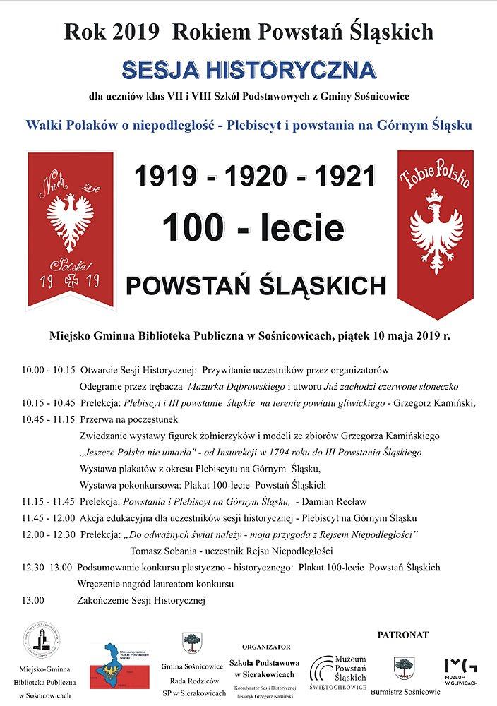 100-lecie POWSTAŃ ŚLĄSKICH - SESJA HISTORYCZNA - plakat