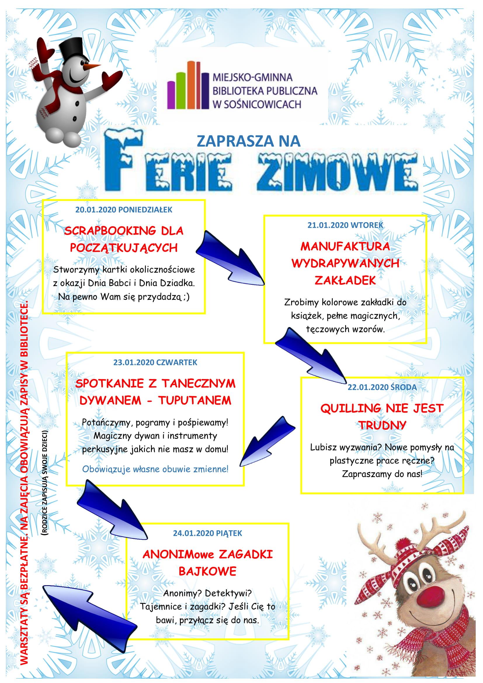 FERIE ZIMOWE - plakat